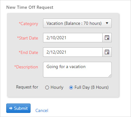Creating a New time-off request