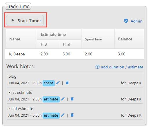 Timer for tasks
