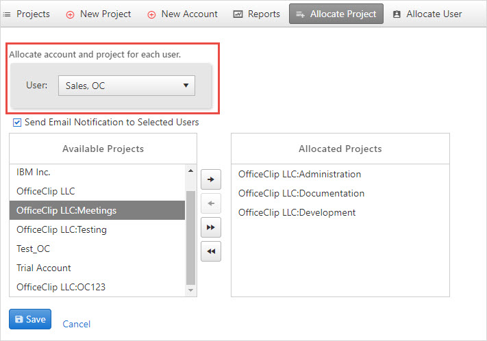 allocate users for projects