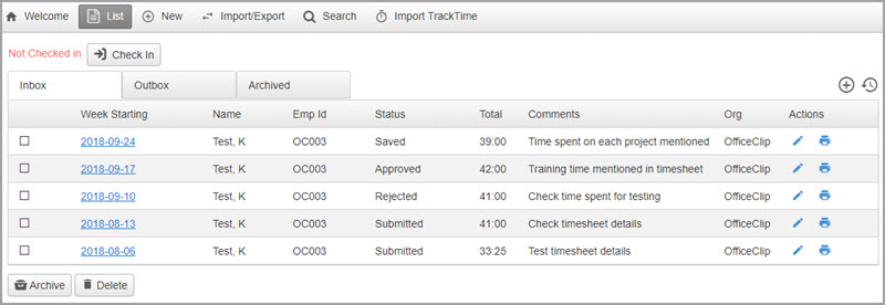 tour of the timesheet software officeclip